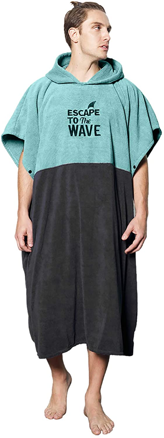 Vulken Extra Large Thick Hooded Beach Towel Changing Robe Surf Poncho Men for Easy Change in Public Water Park Lake Pool Quick Dry Microfiber Towelling for The Beach L//XL