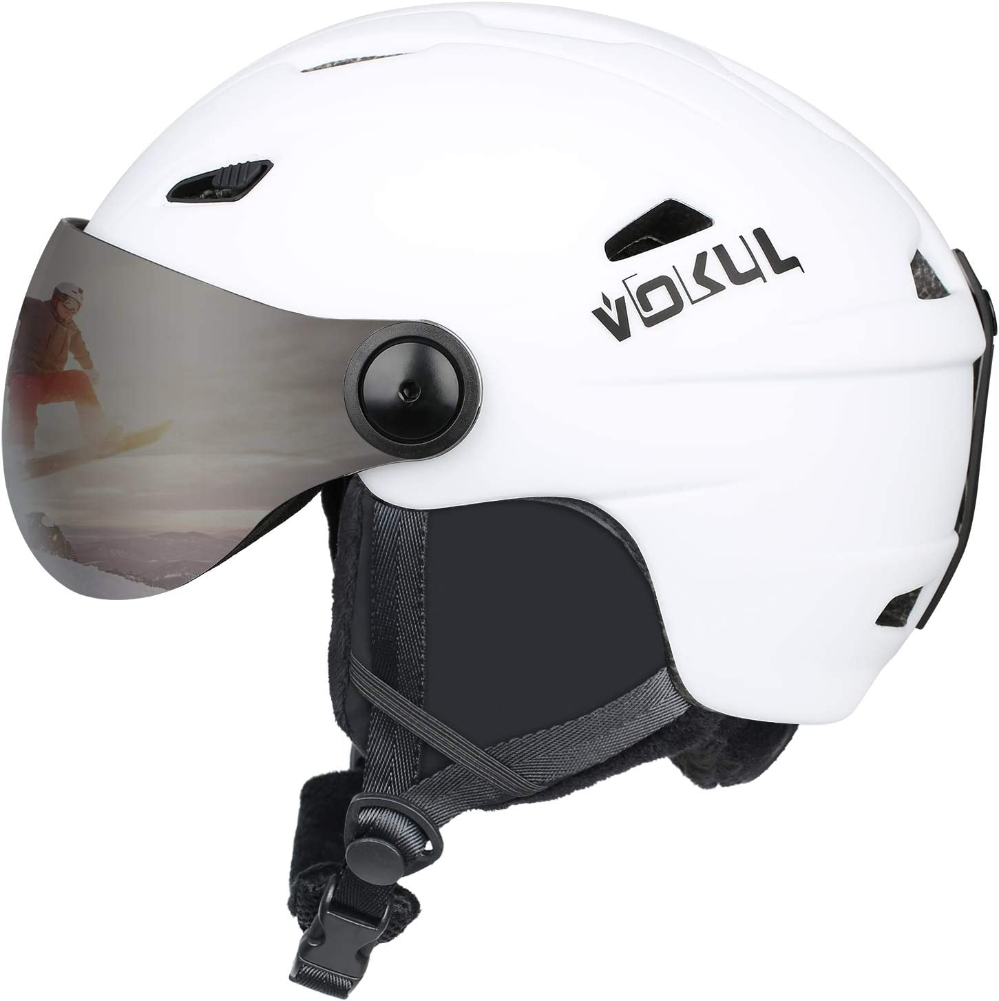 VOKUL Ski Helmet, Snowboard Helmet – Climate Control Venting, Dial Fit, Goggles Compatible, Removable Fleece Liner Ear Pads, Safety-Certified Snow Helmet Men Women for Kids Youths Adults