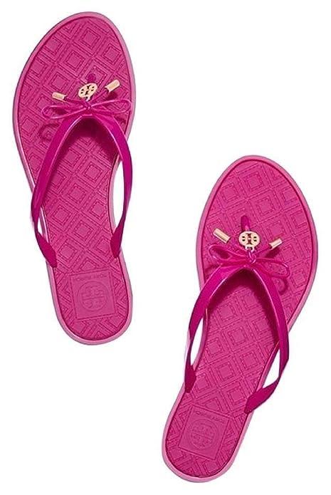 640dcbffa7a52 Tory Burch Jelly Bow Logo Charm Thong Sandal Saucy Pink (11)  Amazon ...
