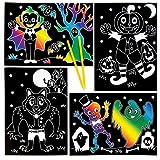Baker Ross Immagini Scratch Art di Halloween, Perfette per Creazioni Fai da Te, Decorazioni e Lavoretti Artistici di Halloween di Bambini e Bambine (Confezione da 6)