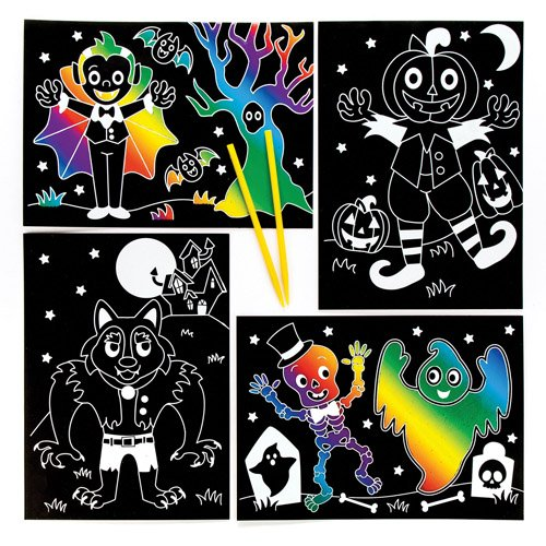 Baker Ross Halloween Scratch Art Pictures Perfect For Halloween Children's Arts, Crafts And Decorating For Boys And Girls (Pack of 6)