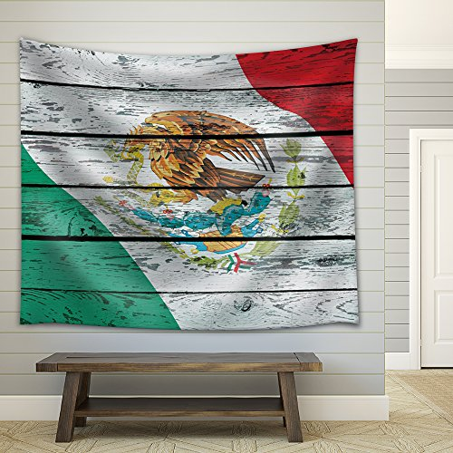 Mexico's Flag on a Wooden Background