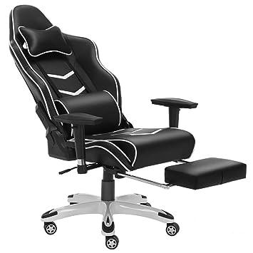 JL Comfurni - Silla de gaming de lujo estilo Chesterfield ergonómica, giratoria y reclinable, ideal para casa, ...