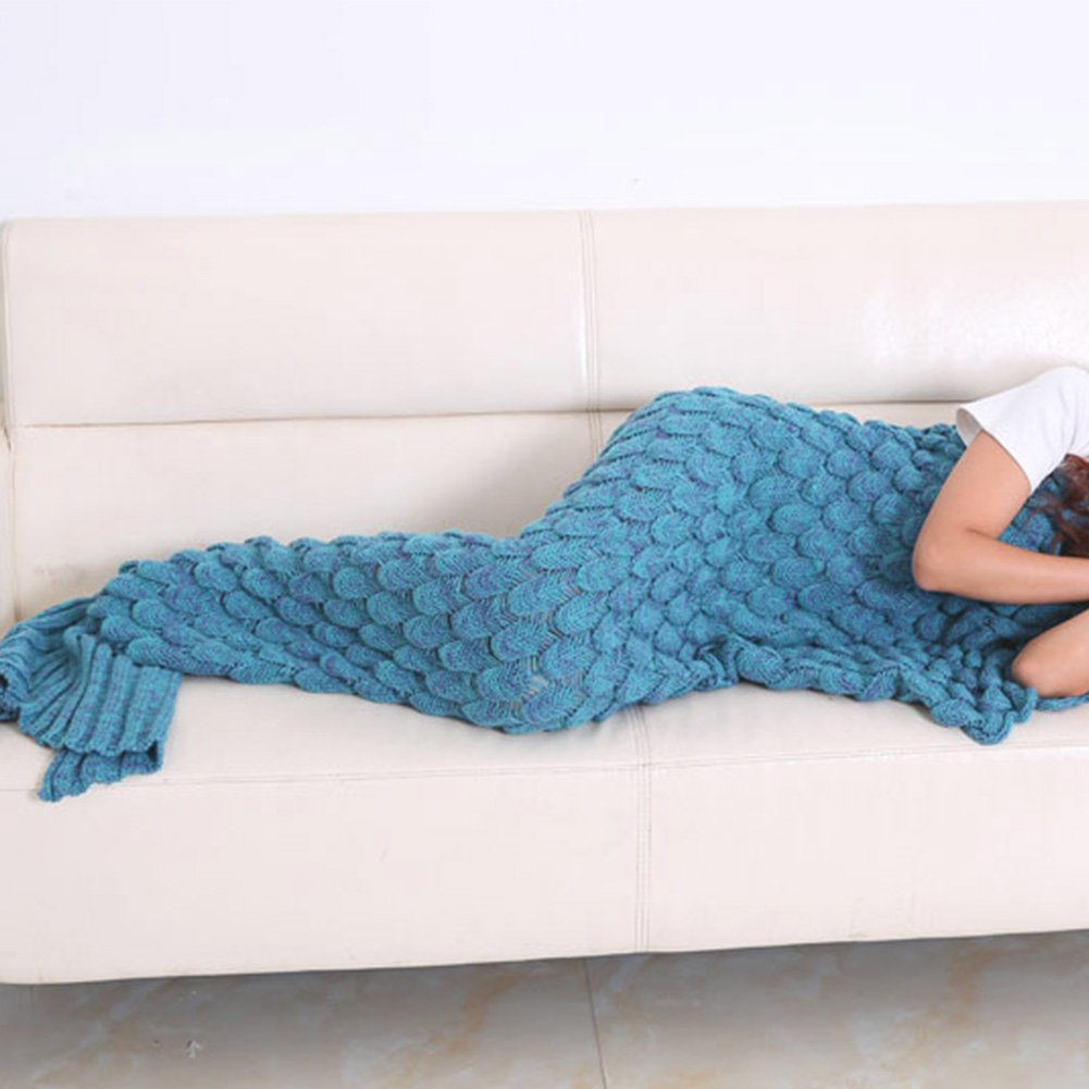 Juissie Handmade Knitted Mermaid Tail Blanket ,Warm Sofa Living room blanket for Adults and Kids (190cmX90cm) (74.8 inch x35.4 inch )(Lake Blue)