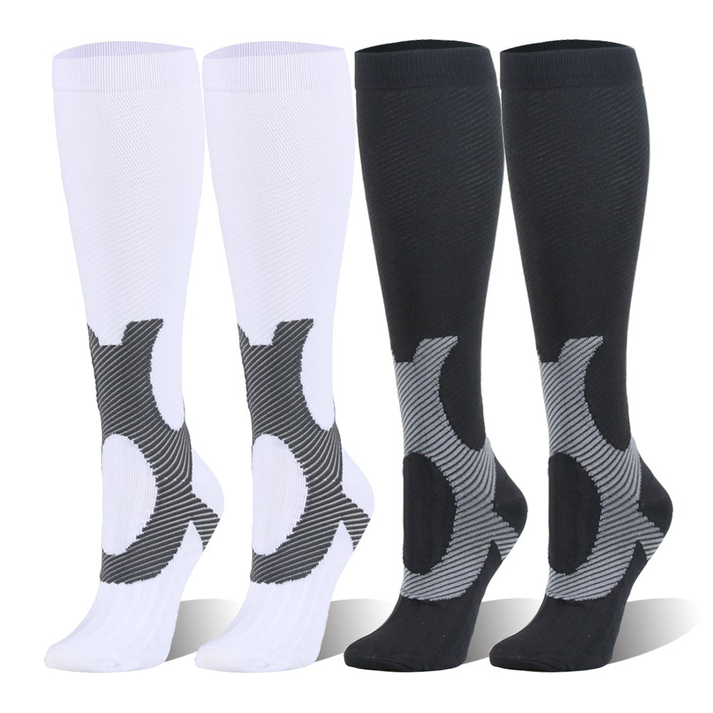 Compression Socks For Women and Men - 20-25mmHg- 4 Pairs BEST Stockings for Running, Athletic, Edema, Diabetic, Varicose Veins, Travel, Pregnancy & Maternity (S/M, Mix1, 4 Pairs)