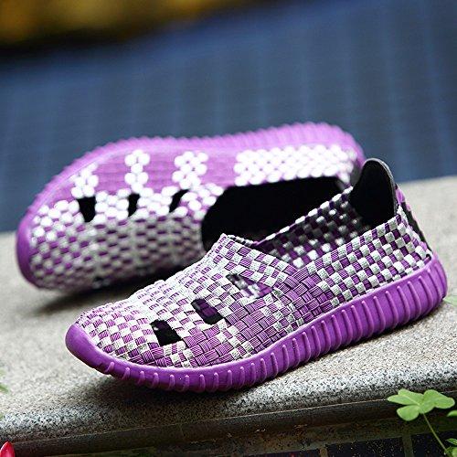 Antideslizantes Tejiendo Morado Sneakers 2018 Verano Casuales Cordones Gimnasia Calzado Deportivos Ligero sin Zapatillas Moda Mujer Zapatos Transpirables Cinnamou Primavera wUpFvqzXIq