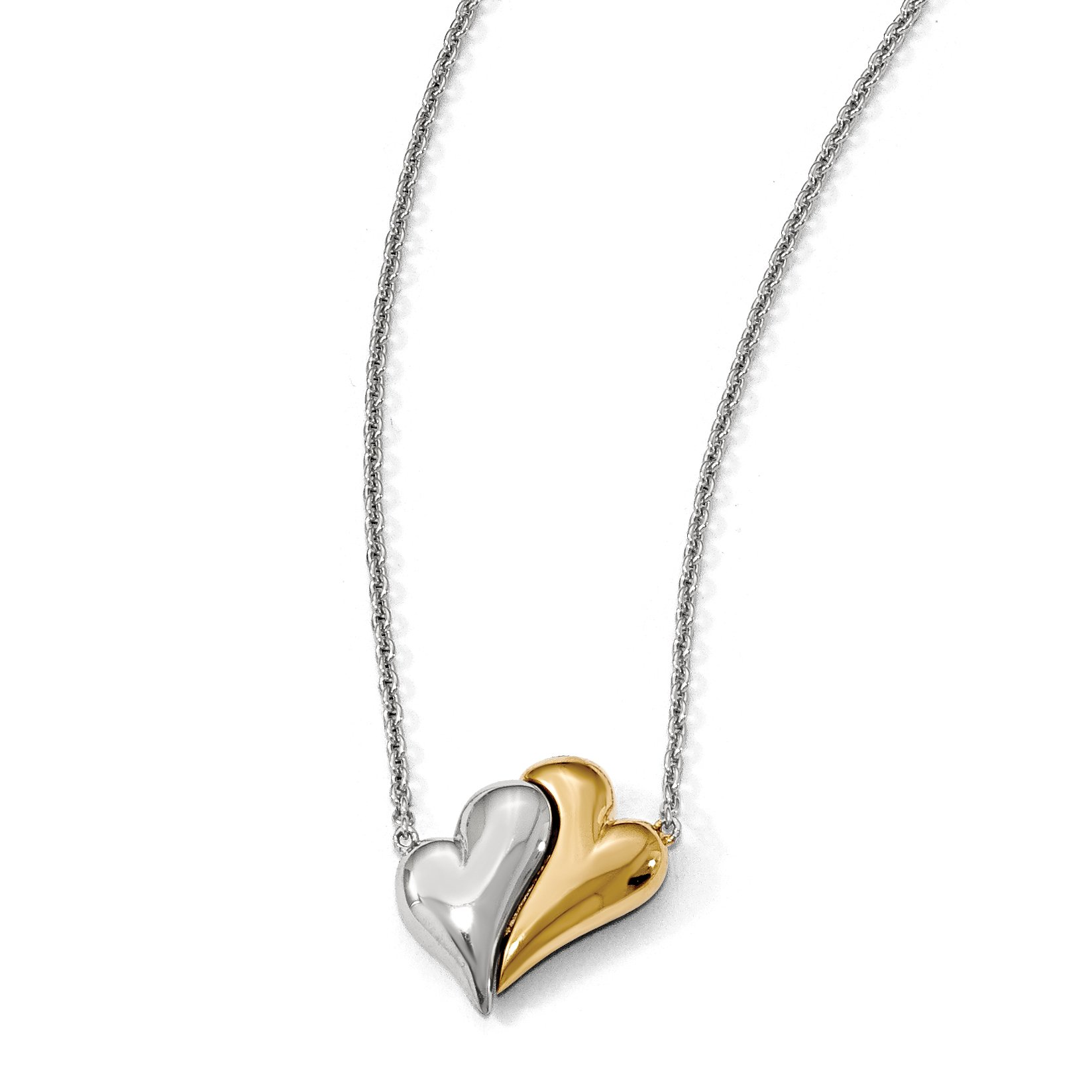 ICE CARATS 925 Sterling Silver Gold Plated Magnetic Double Heart Adjustable Chain Necklace S/love Fine Jewelry Gift Set For Women Heart