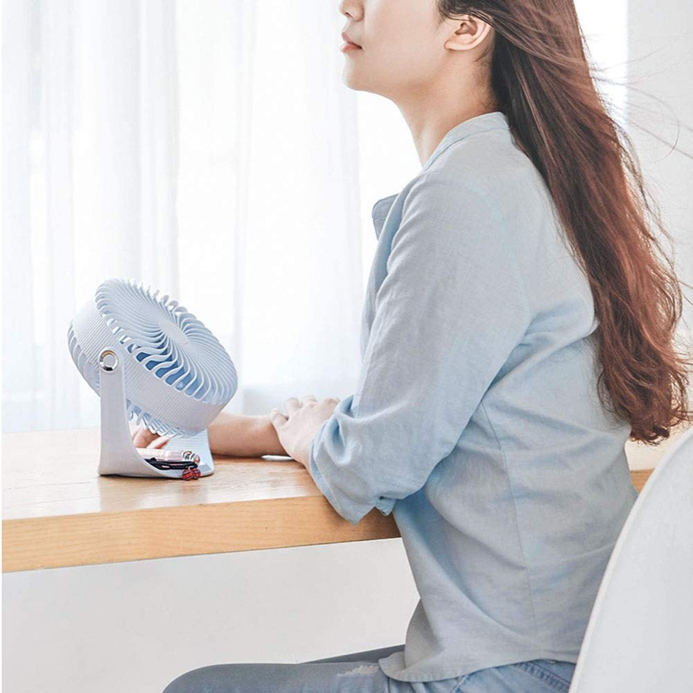 Small Portable Quiet 19.611.720.4cm//7.844.688.16 Inches, Blue//Powder//White Large Wind USB Charging Design Yougou01 Electric Fan Rechargeable Small Fan Color : Blue