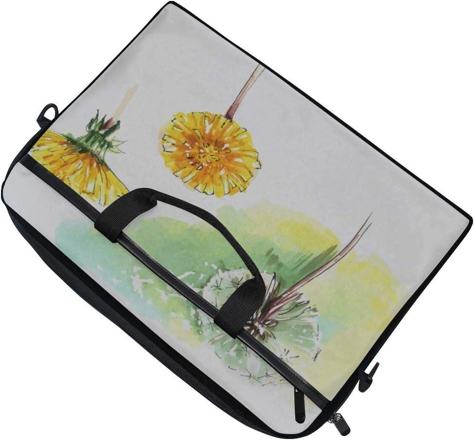 Briefcase Messenger Shoulder Bag for Men Women Laptop Bag Floral Elements Set Vintage Dandelion 15-15.4 Inch Laptop Case College Students Business