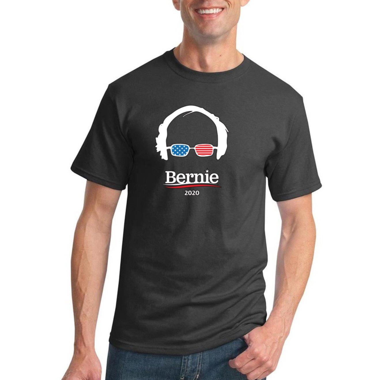 Wild Bobby Bernie 2020 USA Glasses   Mens Political Graphic T-Shirt, Charcoal, 2XL