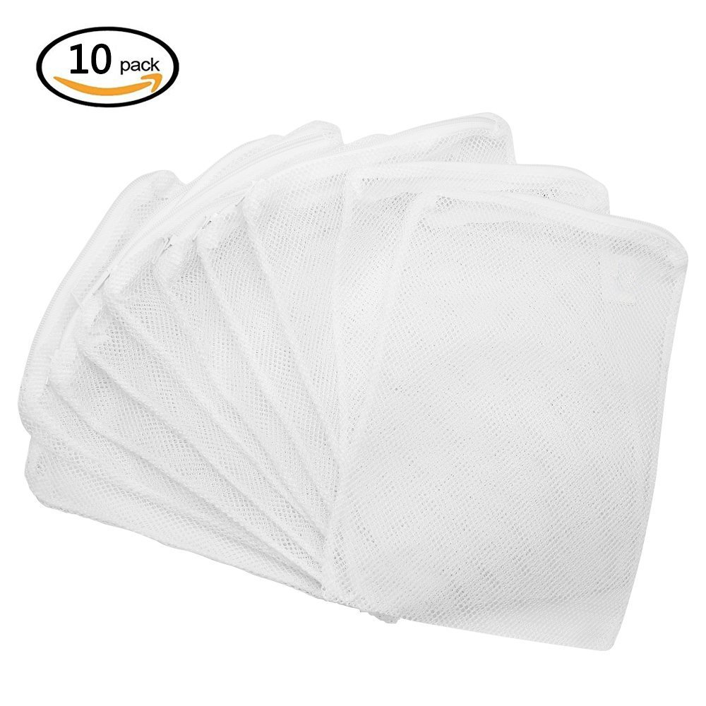 GreeStore 10 Pcs Aquarium Filter Mesh Bags, Filter Media Nylon Net Bag with Zipper, for Aquarium Garden Pond, 15x20CM