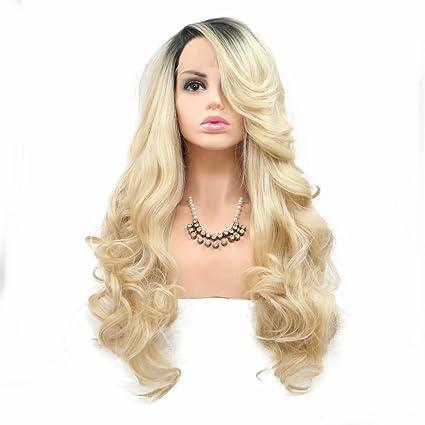 Onlygirl - Peluca de recambio para cabello sin pegamento, resistente al calor, color rubio