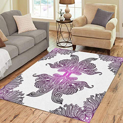 Rug Butterfly Paisley (Semtomn Area Rug 5' X 7' Pink Paisley Colorful Damask Purple Lace Vintage Butterfly Wings Home Decor Collection Floor Rugs Carpet for Living Room Bedroom Dining Room)