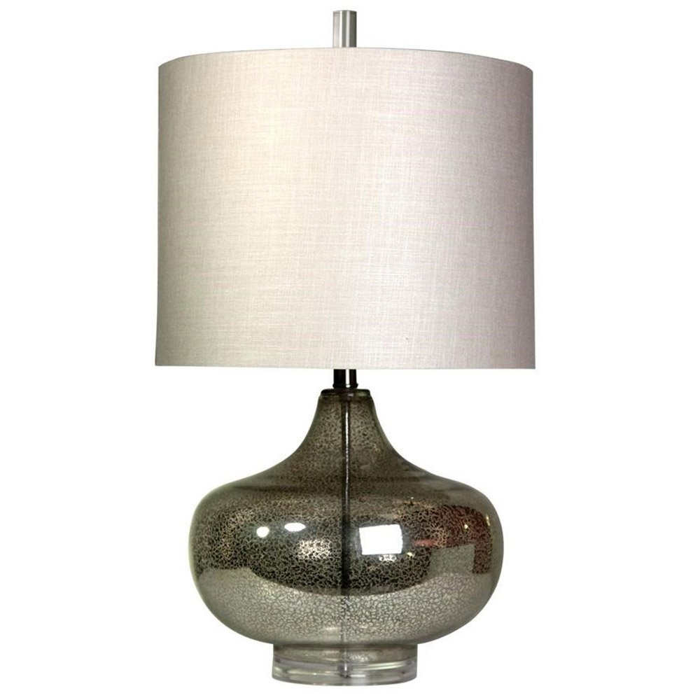 Steel Lamp Base in Halifax Finish Gray Drum Shade (Set of 2)