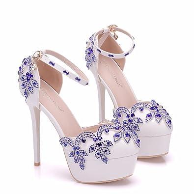 Damenschuhe 9 cm Spitzen Strass Hochzeit Schuhe Fein mit Crystal Thin Schuhe, 36, Golden LEIT