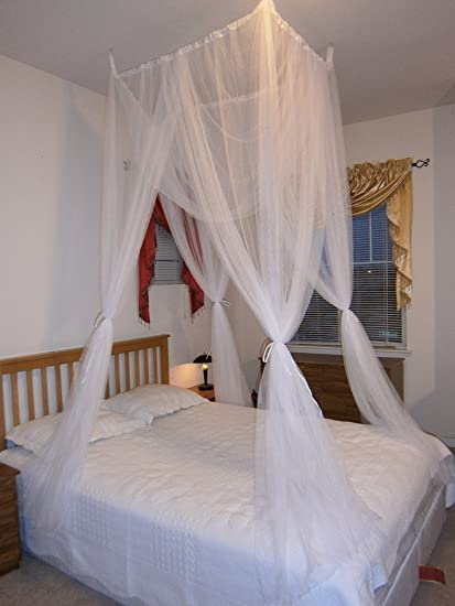 . Octorose   White 4 Poster Bed Canopy Functional Mosquito Insect Netting  with Canopy Pole Can Fit Crib  Twin  Twin full Bunk Bed  Full  Queen  King