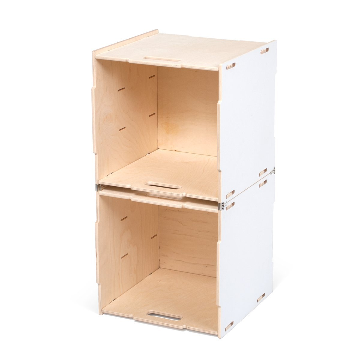 Stacking Crates Stacking Cubby (Two Crates) ホワイト CR_2SC-WHT B01MUCW97V Stacking Cubby (Two Crates)|White Painted Baltic Birch White Painted Baltic Birch Stacking Cubby (Two Crates)