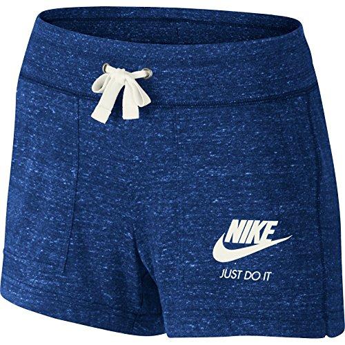 Nike Womens Gym Vintage Shorts Deep Royal Blue/Sail 726063-455 Size Small