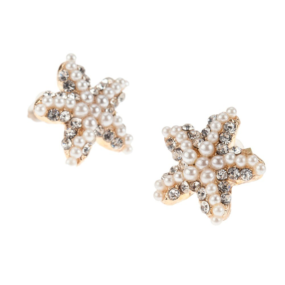 Beautiful Elegant Golden Coloured Starfish Shaped Earrings/Ear Studs With Rhinestones Gems Crystals And White Pearls Beads Embellishments Decorations By VAGA© 784672181457