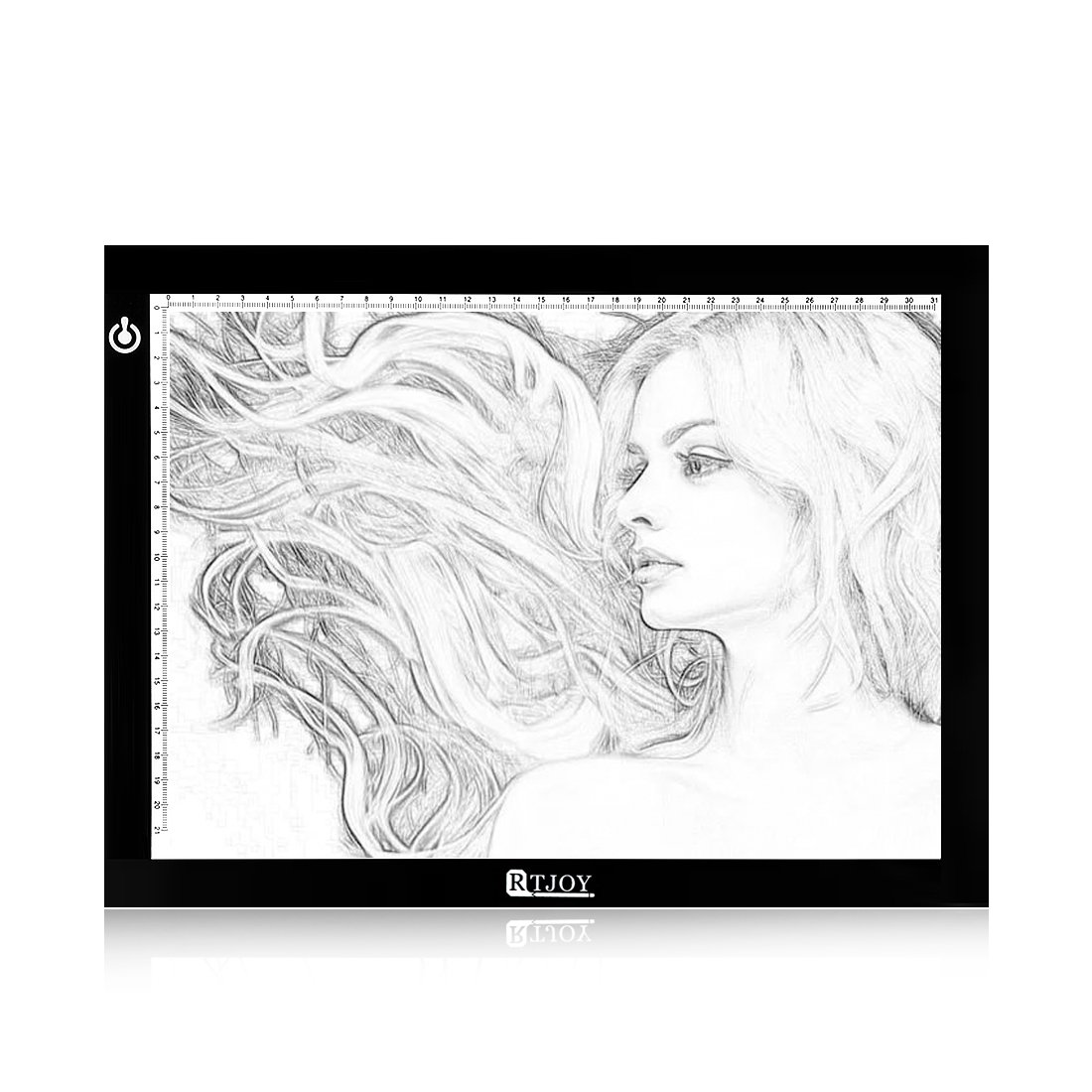 Tracing Light Pad RTjoy A4 Ultra-Thin LED Light up Box Tracer Portable Light Table Dimmable Brightness LED Artcraft Tracing Light Pad for Artists Drawing Sketching Animation Stencilling X-Ray Viewing