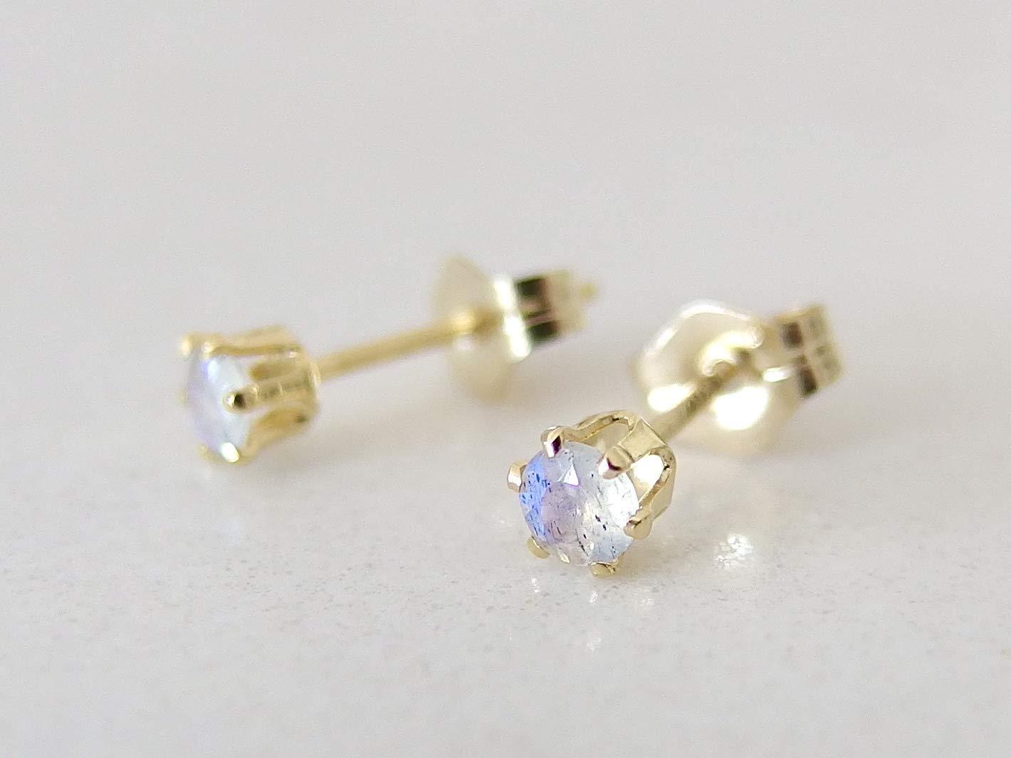 Gold-Filled 5mm Labradorite Earrings for Women Labradorite Earrings Studs Tiny Gemstone Stud Earrings