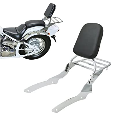 Amazon.com: Chrome Backrest Sissy Bar With Luggage Rack Backrest Pad For Yamaha V-star 650 400 Custom 1996-2011: Automotive