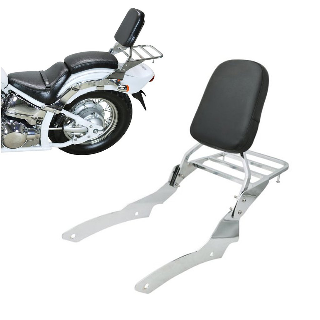 7.4'' Chrome Backrest Sissy Bar With Luggage Rack Backrest Pad For Yamaha V-Star Vstar 650 400 Custom 1996-2011
