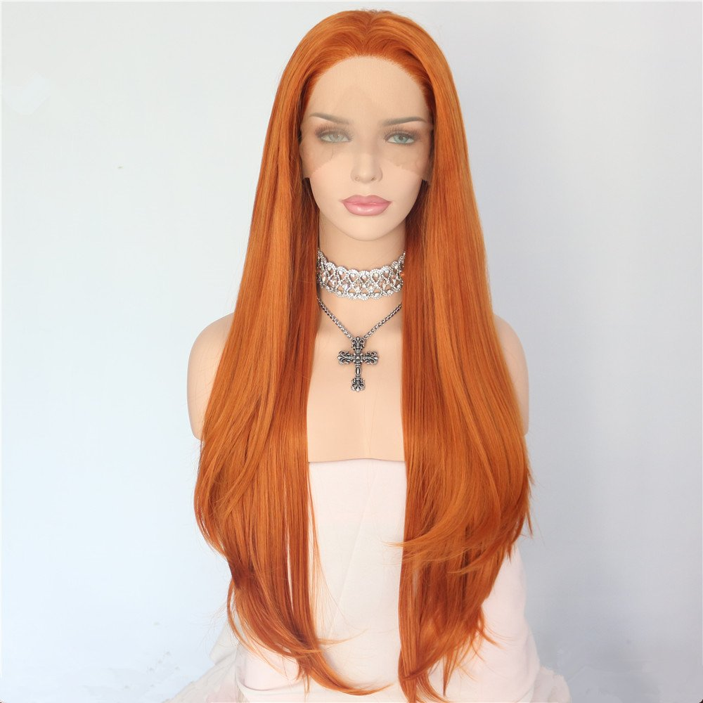 Sapphirewigs Orange Color Natural Hairline Daily Makeup Synthetic Lace Front Wigs