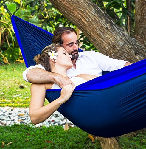 Tropical Breeze Double Hammock / Two Person Hammock - 100% Nylon Lightweight Parachute Material (Blue/Navy)