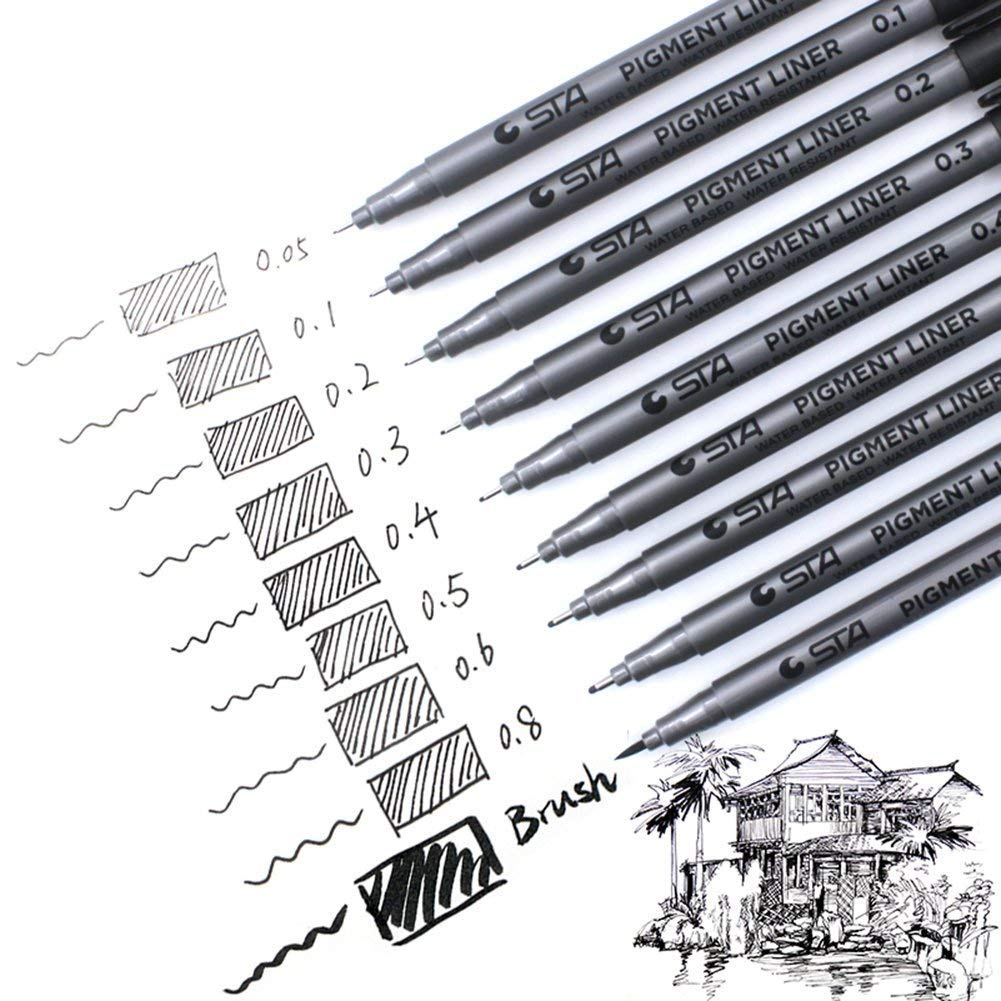 Laconile Pack of 9 Black Pigment Liner Fineliner Drawing Pens Pigma Micron Pens Fine Line Point ink for Artist Professional Sketching Drawing Comic Manga Scrapbooking