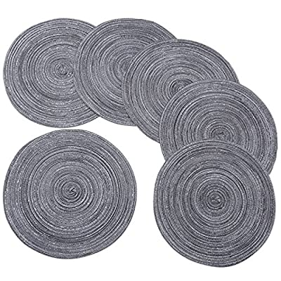 "Round Braided/Woven Placemats, Indoor/Outdoor Placemat/Charger, Kitchen Mat for Dinning Table Washable Set of 6 Dark Grey - 100% Polypropelene Set of 6 round, braided placemats has a 15"" Diameter Shake briskly and wipe with damp sponge for easy care - placemats, kitchen-dining-room-table-linens, kitchen-dining-room - 61L9eJ7Pq0L. SS400  -"