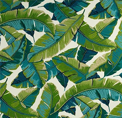 Resort Spa Home Decor RSH D cor Balmoral Opal – Cancun Blue and Kiwi Green Tropical Palm Leaf Cushions for Wicker Loveseat Settee 2 Matching Chair Cushions
