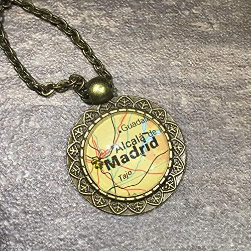 (Alcala TAJO Getafe Madrid Spain Europe Map Pendant Bronze Necklace Atlas GH-399 )