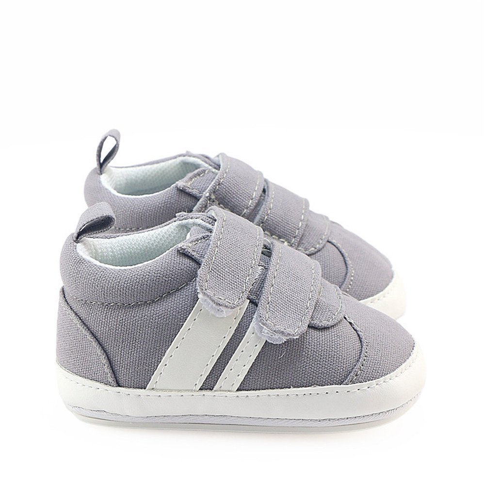 Isbasic Canvas Sneakers Shoes for Baby Boys Girls Toddler Non-Slip Rubber Sole Casual Infant Trainer (6-12 Months, Gray) by Isbasic (Image #3)