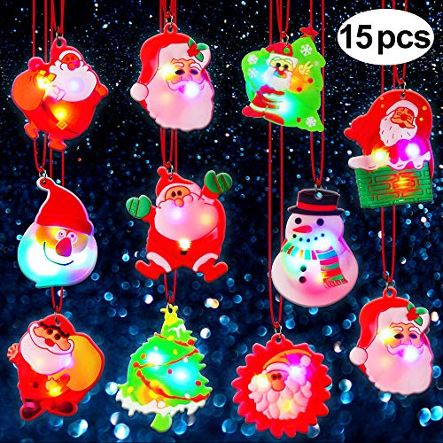 BUDI 15Pc LED Necklaces Party Favors Kids/Adults Christmas Stocking Stuffers Decorations Gift Wrap (Kids For Xmas Party Ideas)