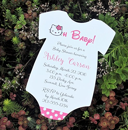 Set of 10 Hello Kitty Baby Shower Invitations - All Wording Customized - Girl Baby -