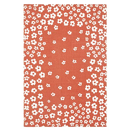 Superior 100% Cotton Printed Wildflower Area Rug, 2' x 3', Coral