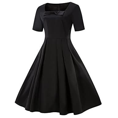 67e833346643 Wellwits Women's Spuare Neck Bowknot 1940s Vintage Formal Work Dress Black S