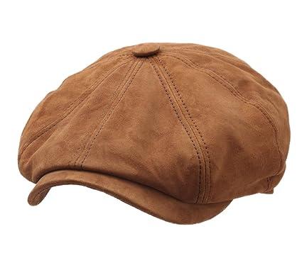 Stetson Men s Hatteras Goat Suede Leather Flat Cap Size L Camel-68 ... 9536e367812