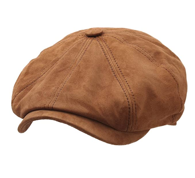 06b84a8be36 Stetson Men s Hatteras Goat Suede Leather Flat Cap Size L Camel-68   Amazon.ca  Clothing   Accessories