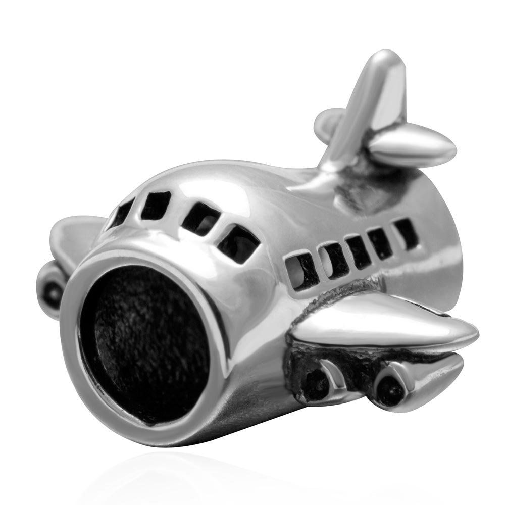 Airplane Charms 925 Sterling Silver Passenger Flights Charm Travel Transportation Charm for Bracelet (Silver)