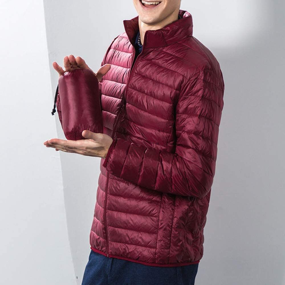 MOMKER Mens Slim and Thin Down Jacket Coat Packable Warm Insulation /& Feather