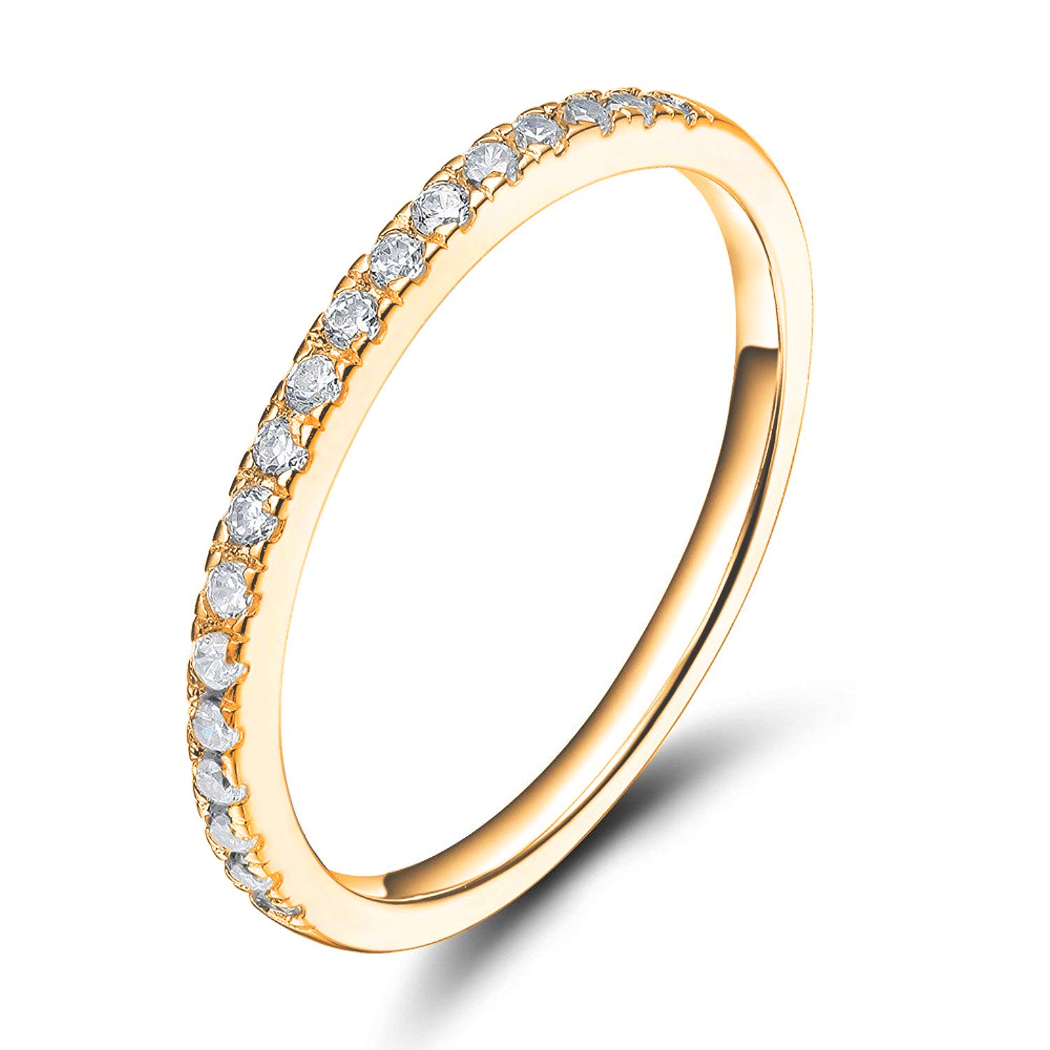 Sz 6.0 Solid 10K Yellow Gold Diamond 2MM Half Eternity Stackable Wedding Anniversary Band Ring by Kobelle