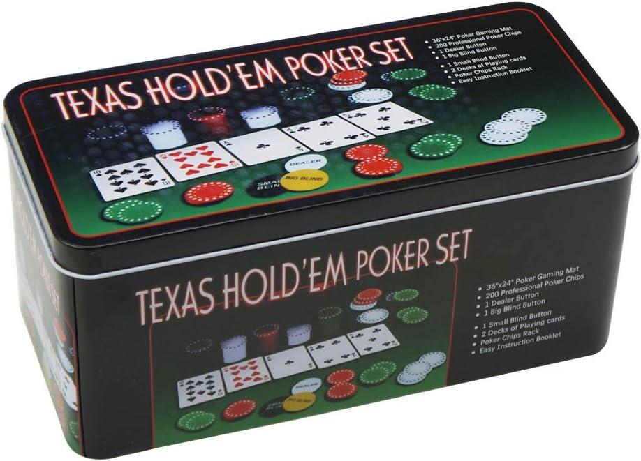 Set de póker caja de metal, 200 fichas de póker, 2 cubiertas ...