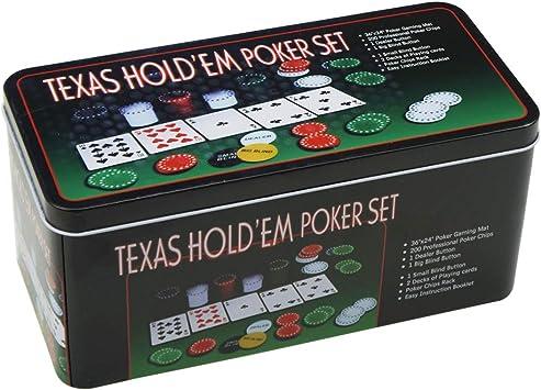 Set de póker caja de metal, 200 fichas de póker, 2 cubiertas, botón ...