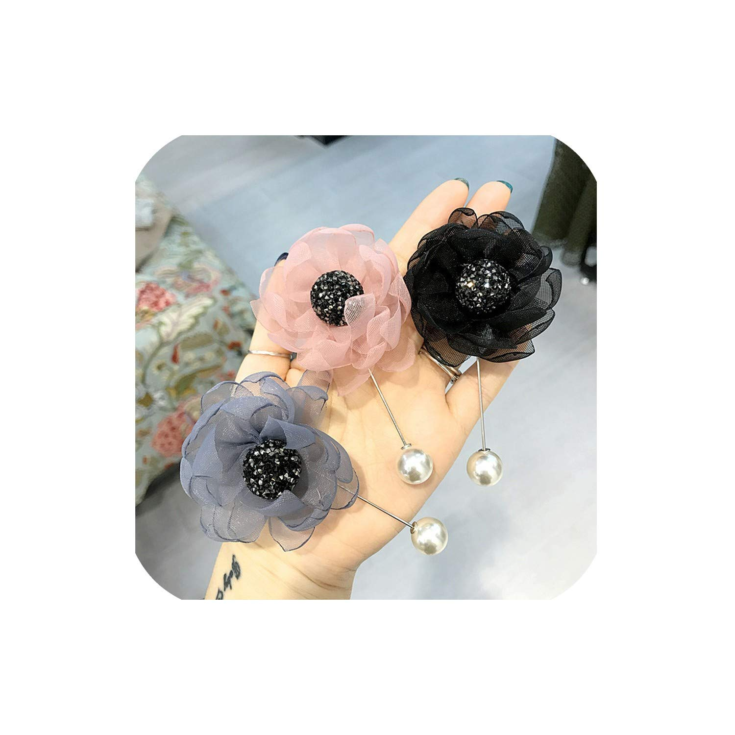 Organza Lace Flower Brooch Studded Crystal Brooches Long Needle Pin Buckle Female Pins for Women Gift Accessories