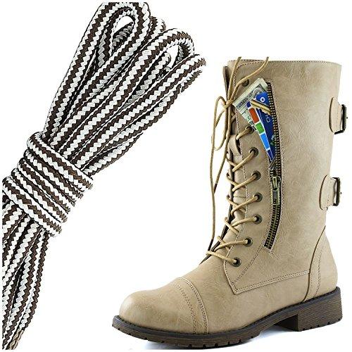 Dailyshoes Femmes Lace Militaire Boucle Boucle Bottes De Combat Mi Genou Haute Carte De Crédit Exclusive Poche, Brun Foncé Gris Flirty Beige