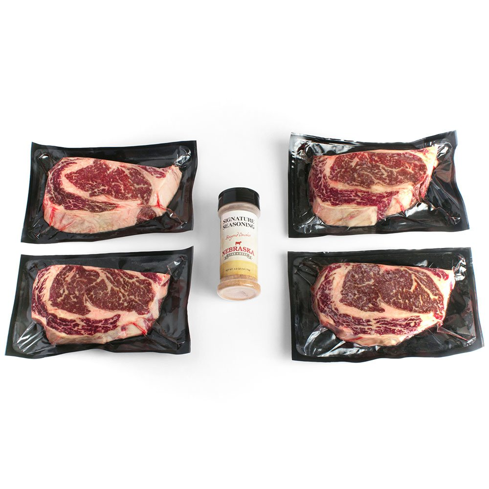 USDA Prime Ribeye Steaks by Nebraska Star Beef - All Natural Hand Cut and Trimmed with Signature Seasoning - Gourmet Steak Delivery to Your Home