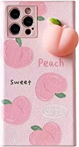 Decompression Finger Pinch Cute for iPhone 12?6.1 inch? Case Soft Squishy 3D Peach Fruit Protective Kawaii for Apple iPhone 12?6.1 inch? Case ([2 Style] Many Peaches, iPhone 12?6.1 inch?)