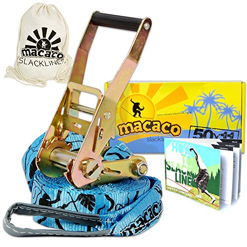 Macaco Travel Slackline 36ft x 2in Incl Ratchet, Bag and Instructions by Macaco